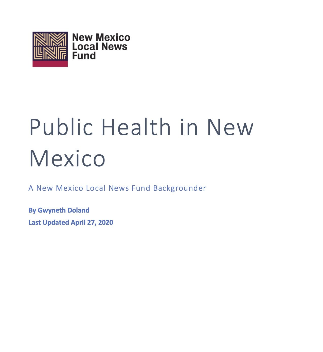 NM Public Health issue paper cover